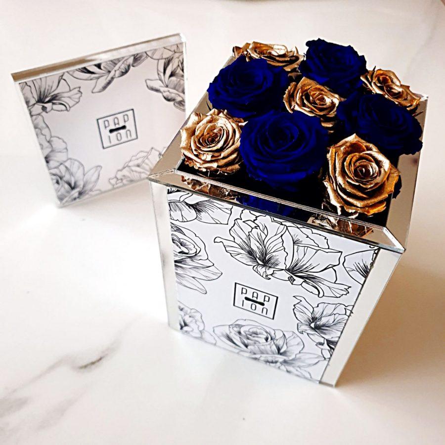 9 roselline blu e oro