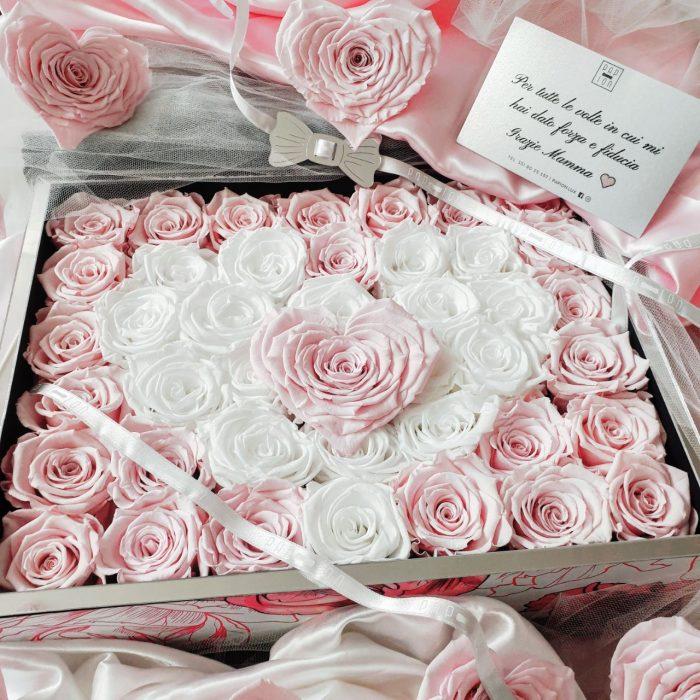 rose stabilizzate rosa e bianche a forma di cuore