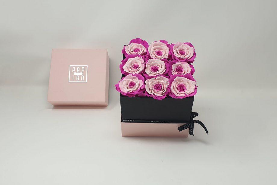 Cofanetto Deluxe con 9 rose bicolore rosa