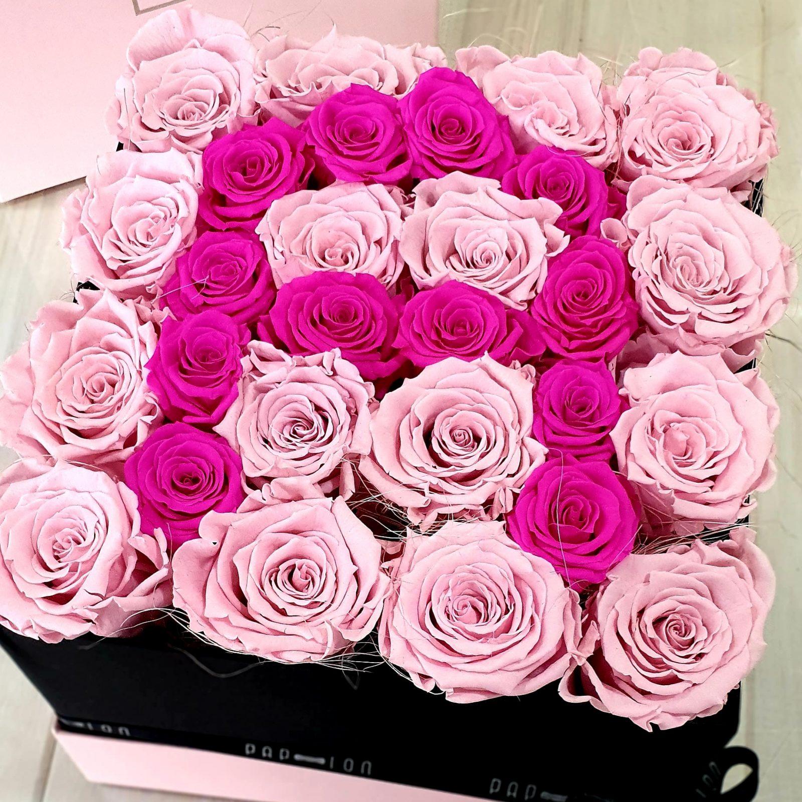 lettera- A- rose- rosa – fucsiastabilizzate – eterne