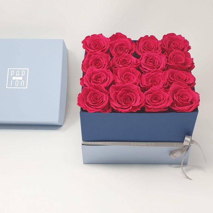 Cofanetto Luxury con 16 rose rosso ciliegio