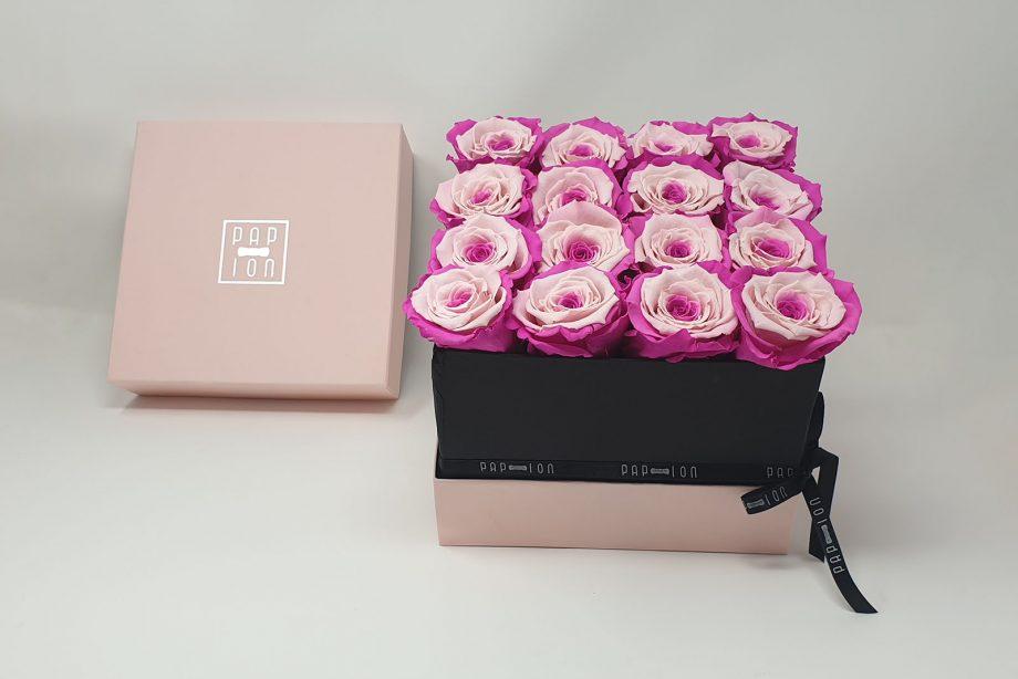 Cofanetto Luxury con 16 rose bicolore rosa e viola