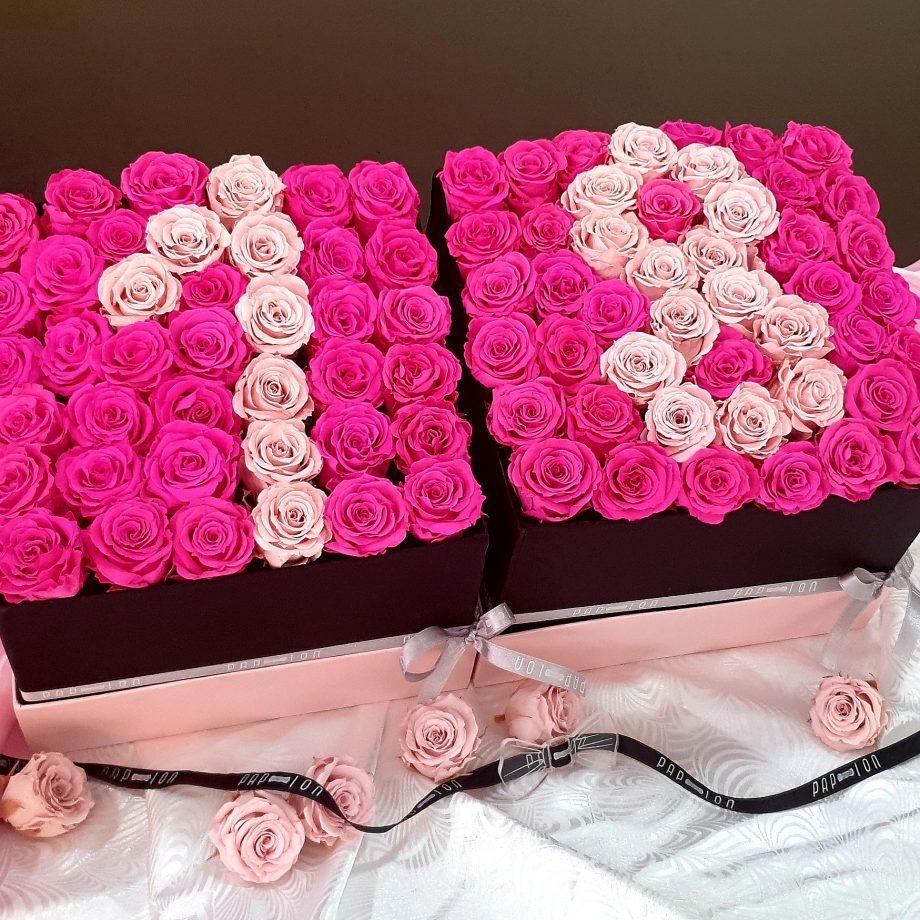 number collection- 18 – rose rosa e fucsia stabilizzate